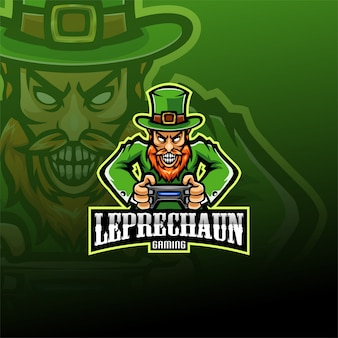 Leprechaun esport mascotte logo sjabloon