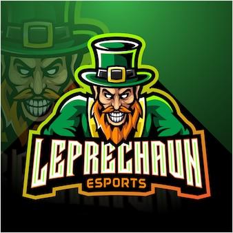Leprechaun esport mascotte logo