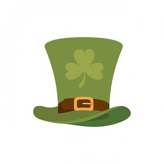 Leprechaun hoed met klaver geïsoleerde pictogram