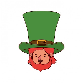 Leprechaun hoofd met hoed avatar karakter
