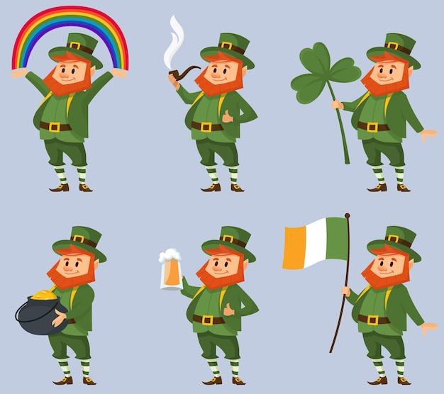 Leprechaun in verschillende poses. fictief personage in cartoon-stijl.