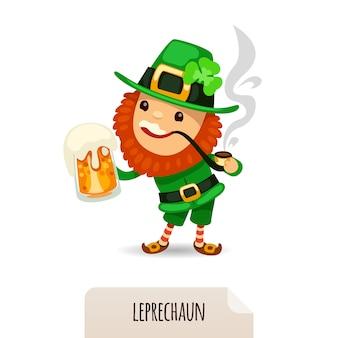 Leprechaun met bier rookt een pijp