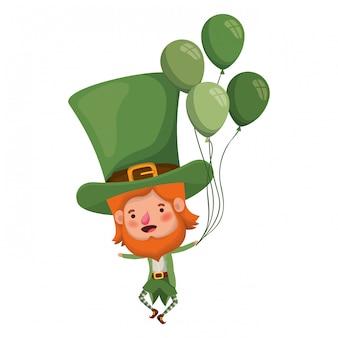 Leprechaun met helium ballon karakter