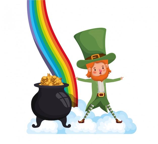 Leprechaun met regenboog avatar karakter
