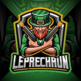Leprechaun schutter esport mascotte logo ontwerp