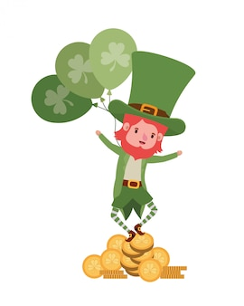 Leprechaun with coin and clover isolated icon