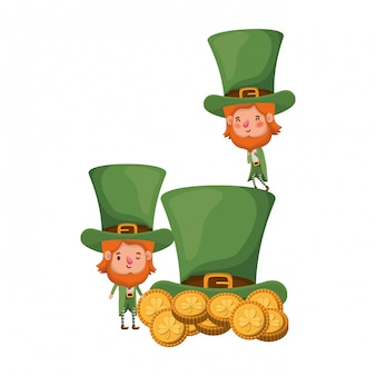 Leprechauns with coins and hat isolated icon