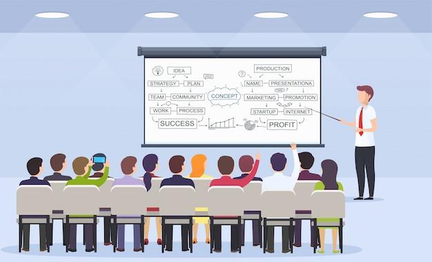 Leraar bedrijfspersoon geeft een lezing voor bedrijfsstrategie