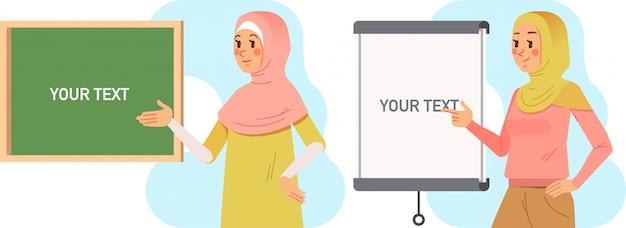 Leraar die de les met raadsillustratie voorstelt