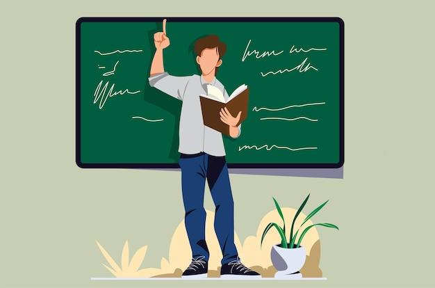 Leraar die voor de klas staat en lesgeeft in vectorontwerpsjabloon