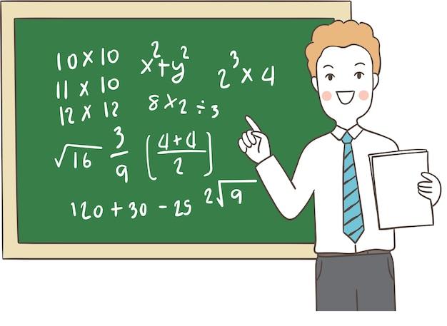Leraar die wiskunde onderwijzen en op bord schrijven