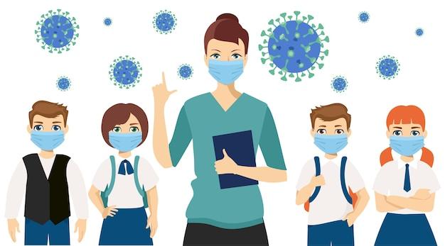 Leraar en kinderen dragen een medisch gezichtsmasker ziekte voorkomen covid jongens en meisjes dragen sanitaire maskers voorkom vervuiling met een geïsoleerd gezondheidsmasker