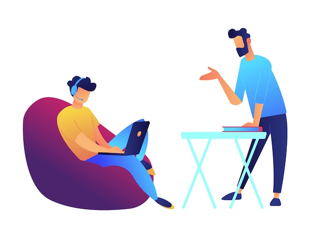 Leraar en student die met laptop in hoofdtelefoon online vectorillustratie leren.