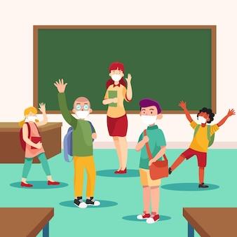 Leraar en studenten die gezichtsmasker dragen in de klas