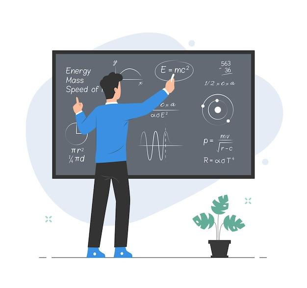 Leraar formule op schoolbord uitleggen en schrijven