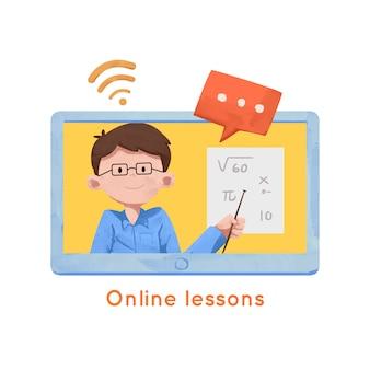 Leraar geeft online lessen