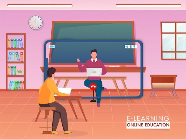 Leraar geeft online onderwijs aan zijn student van digitale apparaten om sociale afstand te bewaren om het coronavirus te voorkomen.