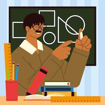 Leraar geometrische vormen op schoolbord