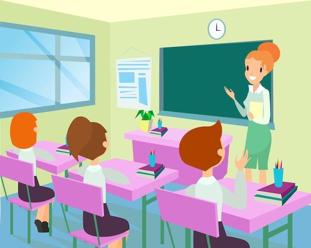 Leraar in de klas met kinderen. vrouwelijke leraar in de klas, kinderen preschool studeren