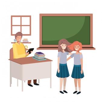 Leraar in de klas met studenten