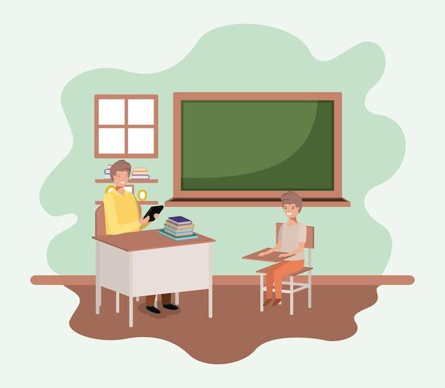 Leraar in het klaslokaal met ontwerp van de studenten het vectorillustratie
