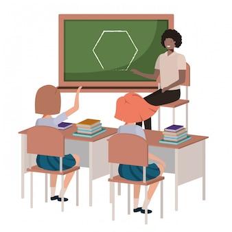 Leraar in klas met studentenavatar karakter
