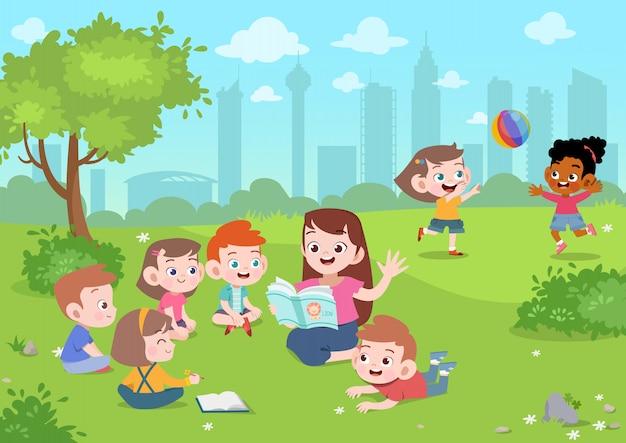 Leraar lees verhaal naar student vectorillustratie