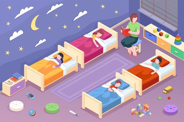 Leraar leest sprookje voor kinderen op de kleuterschool vrouw leest boek voor kinderen voor het slapengaan