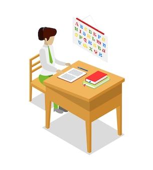 Leraar lesgeven taal isometrische 3d