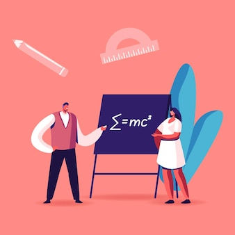 Leraar mannelijk karakter uitleggen wiskunde of natuurkunde formule geschreven met krijt op bord aan jonge vrouwelijke student. cartoon afbeelding