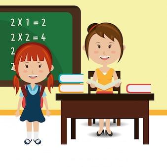 Leraar met student in de klas