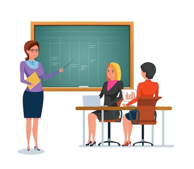 Leraar met studenten dichtbij het bord