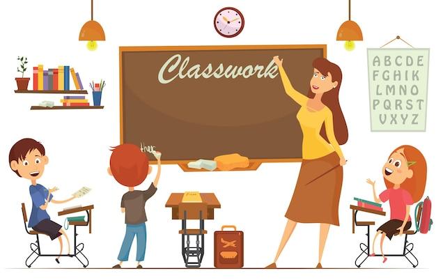 Leraar onderwijst studenten in de klas, wereldboekendag, terug naar school, briefpapier, boek, kinderen, benodigdheden, educatief onderwerp
