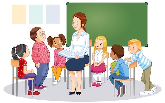 Leraar op schoolbord in de klas met kinderen. cartoon vector geïsoleerde illustratie.