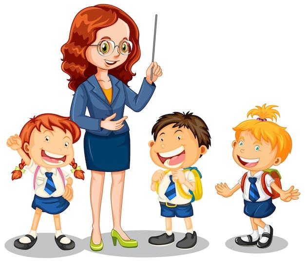 Leraar praten met haar studenten op witte achtergrond