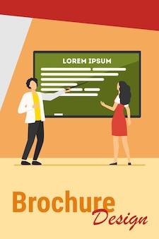 Leraar taak uit te leggen aan student. man wijzend op schoolbord, tekst voorbeeld platte vectorillustratie weergegeven. onderwijs, klasse, studeren concept