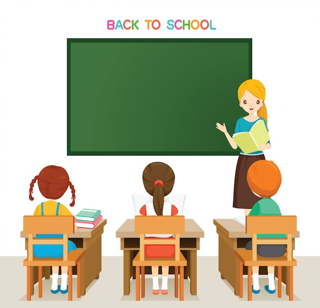 Leraar teaching students in classroom, terug naar school