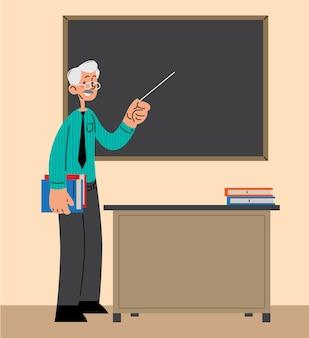 Leraar wijzend op een schoolbord voor de klas platte vectorillustratie