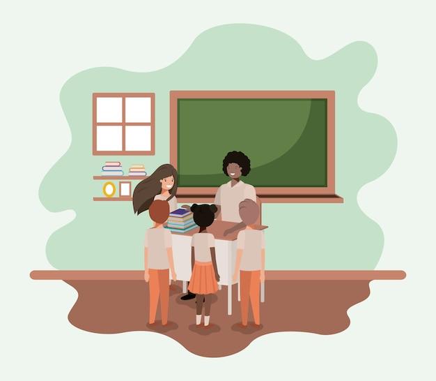 Leraar zwart in de klas met studenten