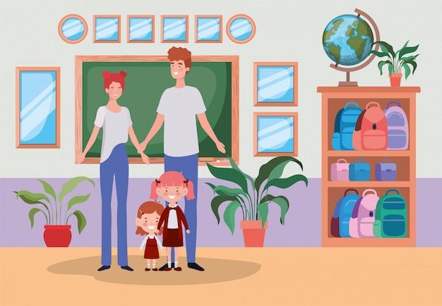 Leraarspaar met kleine studentenjonge geitjes in de schoolgang