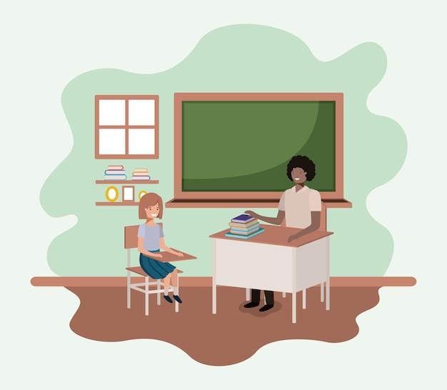 Leraarzwarte in het klaslokaal met ontwerp van de studenten het vectorillustratie