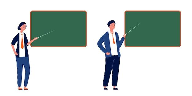 Leraren bij bord. mannelijke vrouwelijke professoren, stagiaires op school of universiteit. studeren proces vectorillustratie. leraar in de buurt van schoolbord, klasbord aan de universiteit