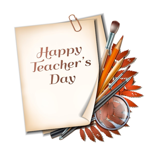Leraren dag kaart. vel papier met belettering happy teachers day met herfstbladeren, pennen, potloden, penselen en vergrootglas op houten achtergrondstructuur.