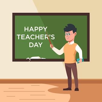 Leraren dag. leraar presenteren. terug naar school