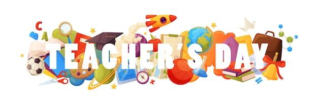 Leraren dag. met elementen: kaart, papier, potlood, liniaal, verf, tablet, raket, planeten, wereldbol, sterren, kaart en enz.