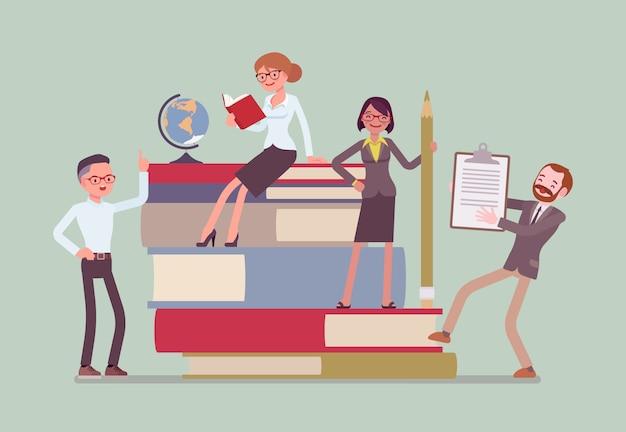 Leraren groeperen zich in gigantische boeken