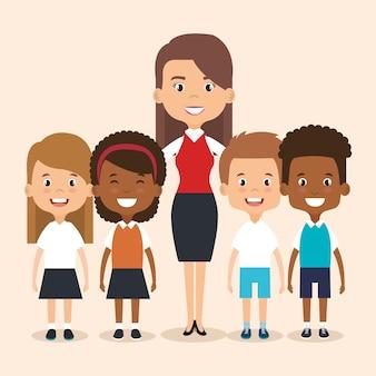 Lerarenschool met kinderenavatar karakter