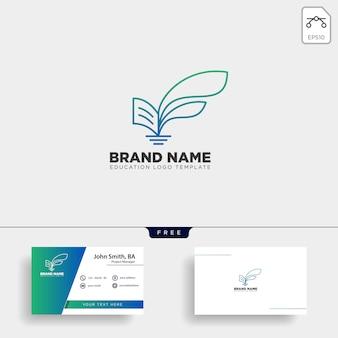Leren boek plant blad boom lijn logo