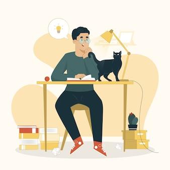 Leren concept een man die een boekillustratie leest