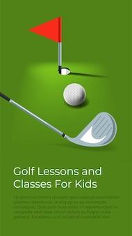 Leren golfen voor kinderen. kinderen onderwijs en ontwikkeling van vaardigheden. competitieve sporten, hobby en buitenactiviteiten. lessen en cursussen, posters met informatie. vector in vlakke stijl